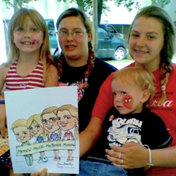 Family with caricature drawing