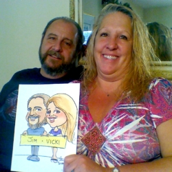 Jim and Vicki's caricature drawing
